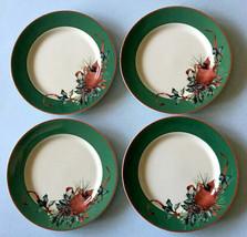 "Lenox Winter Greetings Dessert Salad Plate SET/4 Green Band/Cardinal 8"" New Box - $98.90"