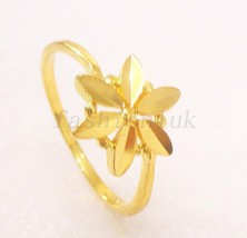 18K Yellow Gold Plated No Stone Lady Xmas Birthday Palm Tree Ring Size L N O P - $12.65
