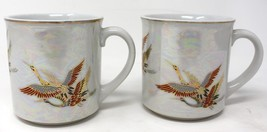 2 Vintage Japan Crane Bird Pearl finish Coffee Mug Tea Cup Set  EUC - $17.75