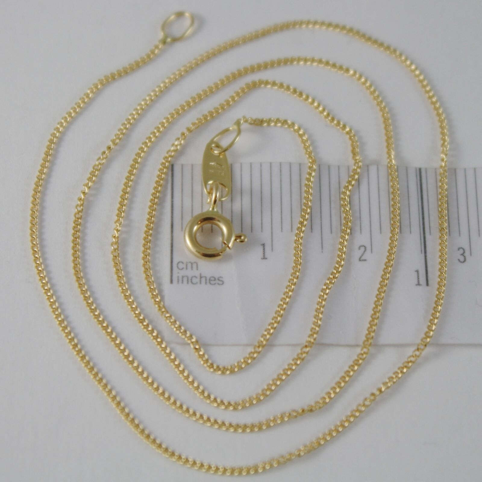 18K YELLOW GOLD CHAIN 17.7 MINI CUBAN CURB GOURMETTE LINK 0.9 MM, MADE IN ITALY