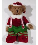 RUSS BERRIE SANTA ELF TEDDY BEAR CHRISTMAS HOLIDAY PLUSH STUFFED ANIMAL - $12.61