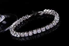 White Diamond Prong Set Special Day Gift For Her Tennis Bracelet Solid 1... - $1,399.99