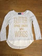 * childrens place gray glitter knit chiffon top shirt medium 7 - 8 girls - $5.94