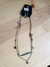 Paparazzi Long Necklace & Earring Set(New)Gold W/ Turquoise Beads 353 - $7.69