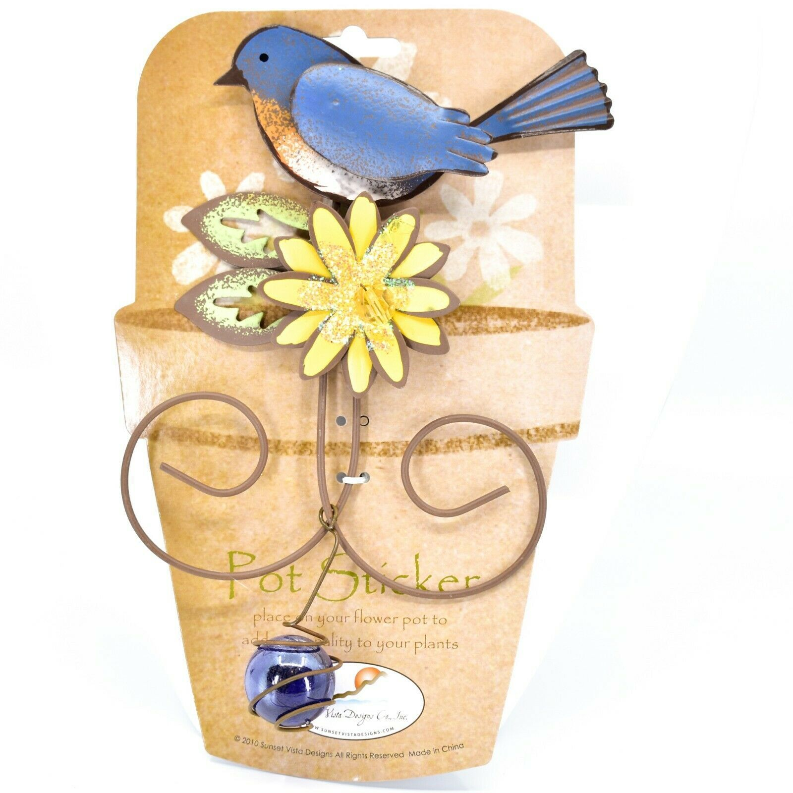 Bluebird Blue Bird Yellow Flower Metal Garden Pot Sticker