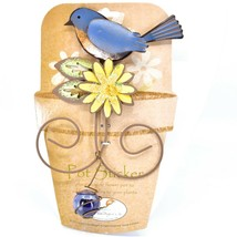 Bluebird Blue Bird Yellow Flower Metal Garden Pot Sticker image 1