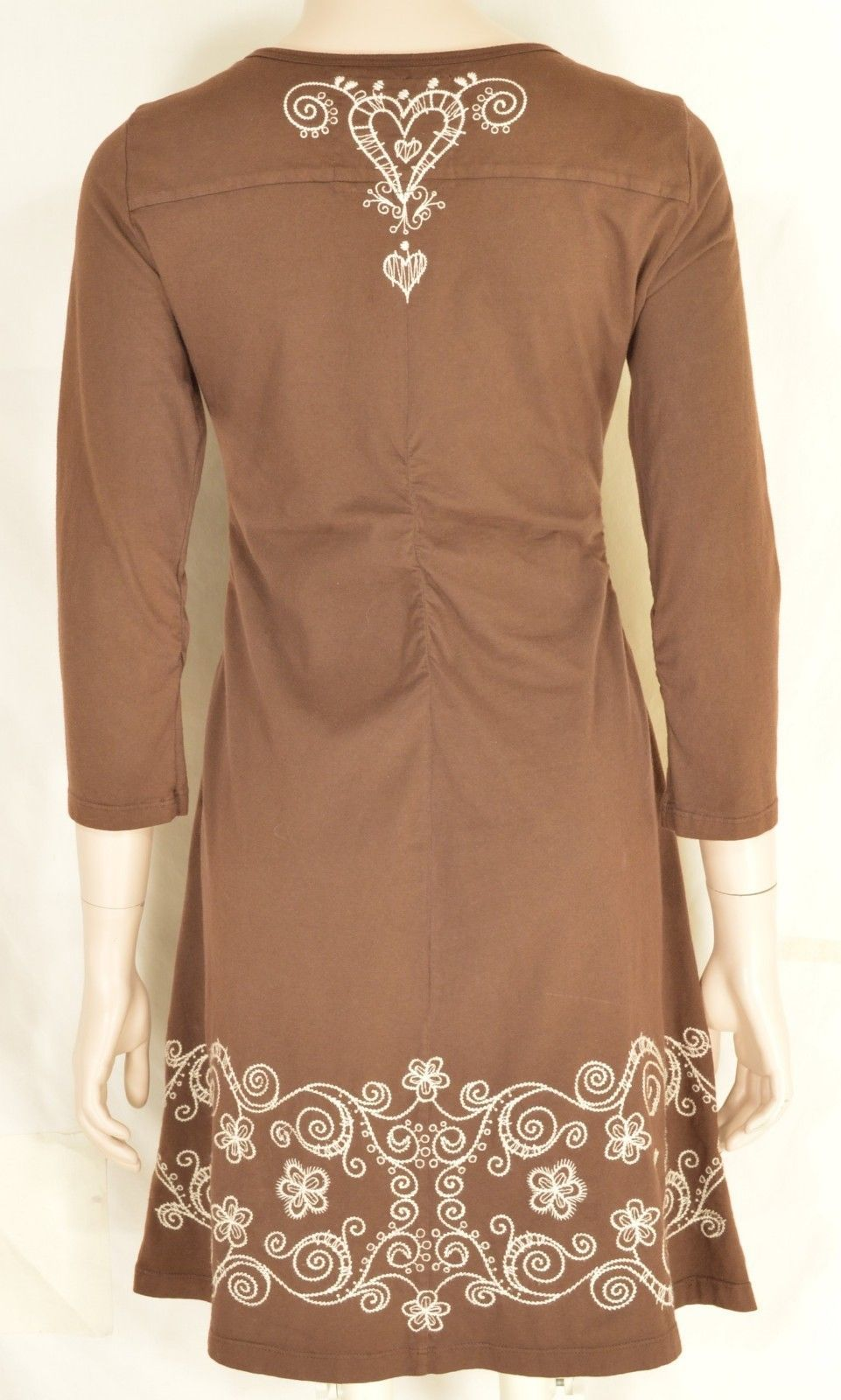 Johnny Was dress mini SZ S brown white embroidery 3/4 ruched sleeve ruched back