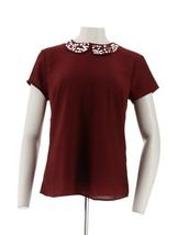 Dennis Basso Short Slv Top Embellished Peter Pan Collar Solid Wine 6 NEW... - $31.66