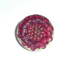 Gorgeous Red Flower Czech Glass Garnet w/ Gold Finish Daisy Glass Button... - $4.89