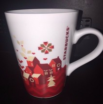 Starbucks 2013 Red and White 11 oz Holiday Coffee Mug Christmas with Red... - $16.78
