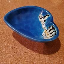 Vintage Trinket Dish, Blue Soapstone Heart & Handpainted Penguins, Made in Kenya image 6