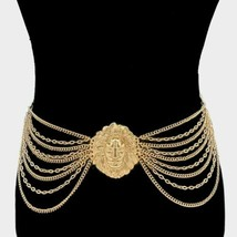 Gold Lion Head Medallion Multi Layered Chains Fashion Jewelry Link Belt ... - $27.72