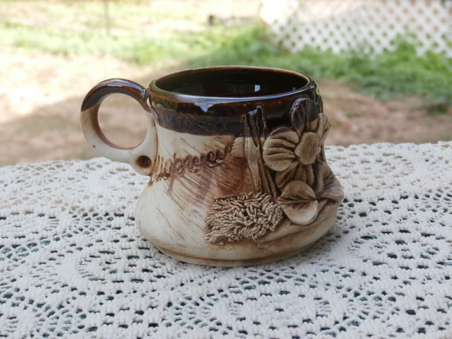 Vintage 3D Pottery Coffee Mug with Flower Brown and Tan FREE SHIPPING