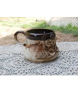 Vintage 3D Pottery Coffee Mug with Flower Brown and Tan FREE SHIPPING - $17.81