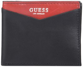 Guess Men's Leather Credit Card ID Billfold Rfid Wallet Black Red 31GU130028