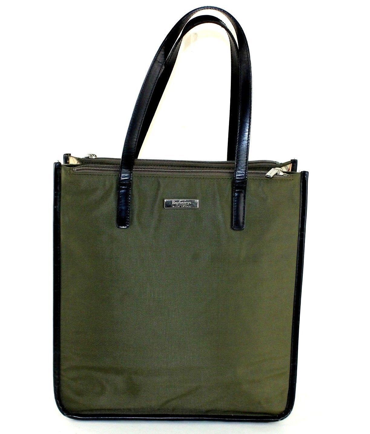 68092c84ceb7 57. 57. Auth Burberrys London Blue Label Olive Nylon Nova Check Tote  Shoulder Hand Bag  Auth Burberrys London Blue ...