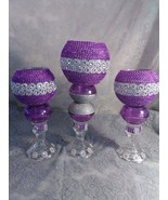 3pc. Purple & Silver  Candleholder Set - $78.09