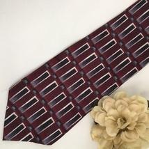 Pierre Cardin Red Black & Gray Print men's silk business tie - $12.95
