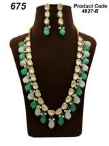 High quality stone necklace earrings kundan green white bridal set haar mala - $45.53