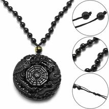 Lucky Pendant Necklace Natural Obsidian Carved Chinese Dragon Phoenix Bagua image 4