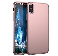 iPhone X Rose Gold shockproof 360 Full cover Protection Case with glass ... - $11.34
