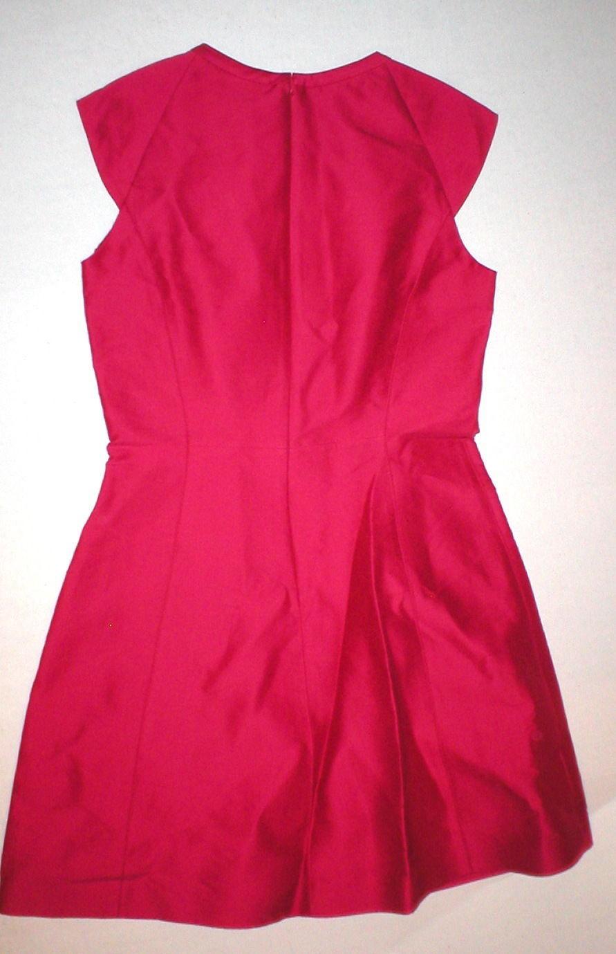New $495 Womens Halston Heritage 6 Dress Designer Dark Pink NWT Cut Out Neck image 7