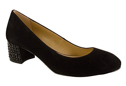 MICHAEL Michael Kors Women's Arabella Suede Kitten Heel Pumps, Black, 5 B(M) US