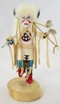 "White Buffalo Dancer 7-3/4"" Kachina Doll Handmade Native American, Signe... - $40.00"