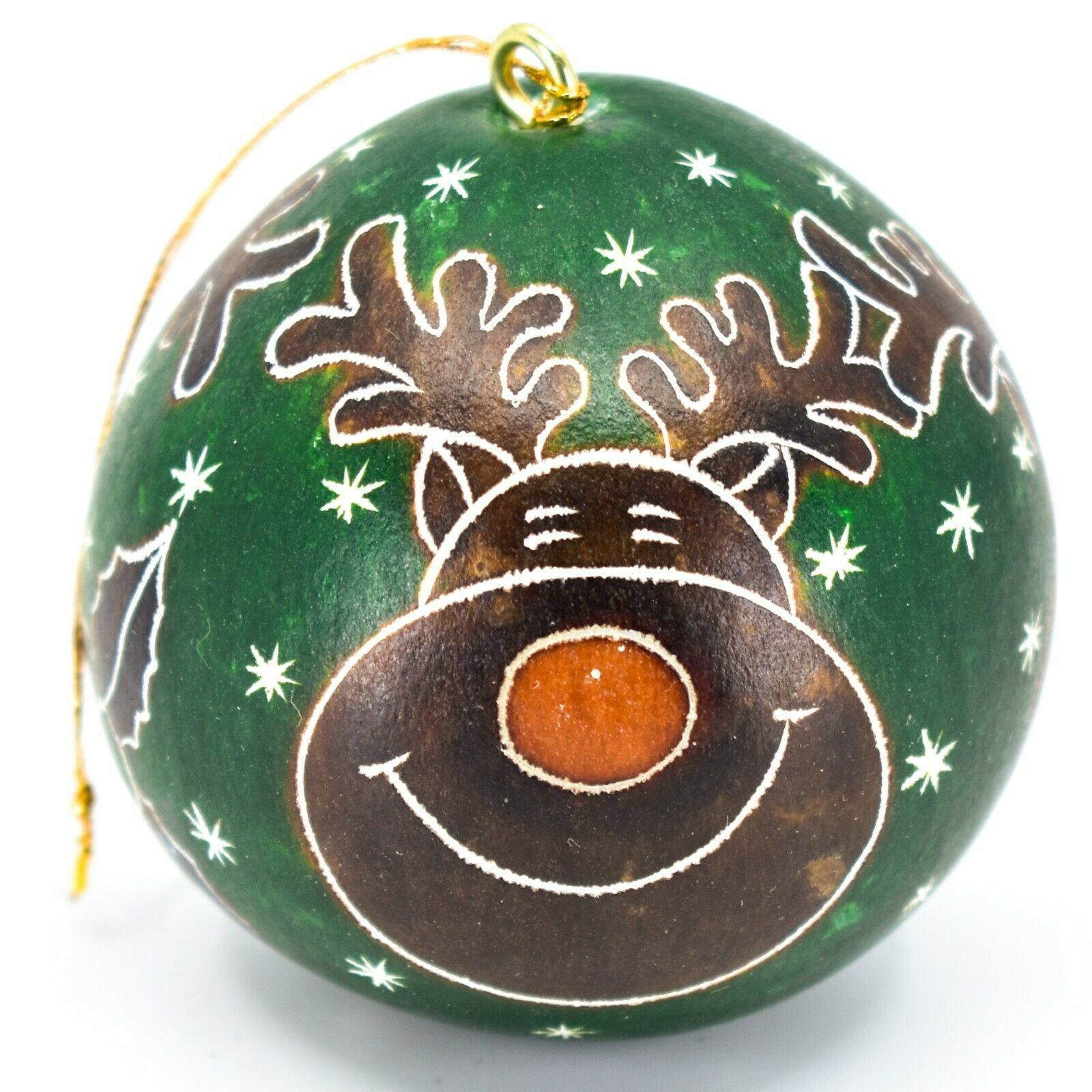 Handcrafted Carved Gourd Art Green Rudolph Reindeer Holiday Ornament Made Peru