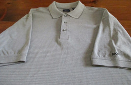 Men's Izod Adult XL Polo Shirt Gray Stripe Stretch EUC - $16.82