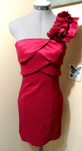 SNAP Prom Dress 0/2 XS Red Taffeta Scalloped bust Roses One shoulder, Short mini - $54.44