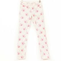 Gap Kids Floral Skinny Jeans 14 Cream Pink Blue Adjustable Jean Denim 1969 - $13.75
