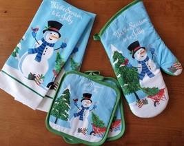 Christmas Kitchen Linen Set 5pc Towels Mitt Pot Holders Snowman Blue Holiday image 1