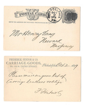 1879 UX5 Phila PA Fancy Cork Cancel Fenton Carriage Leather Henry Lang Newark NJ - $9.95