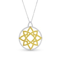 0.93Cts Yellow Diamond Pave Pendant Necklace Set in 18K White Yellow Gold - £2,649.12 GBP