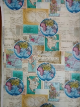 1/2 yard Map of the World maps cotton quilt fabric -free shipping image 2