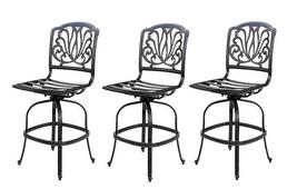 Outdoor bar stools set of 3 swivel patio aluminum furniture Elisabeth Bronze image 1