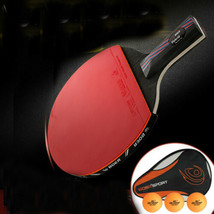 Rubber Table Tennis Racket Ping Pong Paddle Wooden Table Tennis Bat Carr... - $19.90