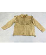 Men's New Native American Mountain Man Buckskin Beige Goat Suede Shirt FJ33 - $89.10+