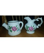 Ceramic Vintage Water Can and Pitcher pink and blue flowers - $10.00