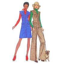 Vtg 70s Simplicity 6527 Misses A-Line Shirtdress Vest Wide Leg Pants 14/... - $6.95