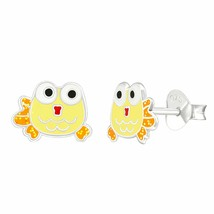 Sterling Silver 925 - Yellow Fish Epoxy Stud Earrings for Women Kid, Push Back - $6.60
