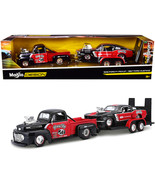 1948 Ford F-1 Pickup Truck #48 with 1967 Ford Mustang GT and Flatbed Tra... - $69.09