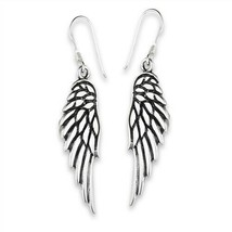 Large 925 Sterling Silver Angel Wings Dangle Earrings - $24.74