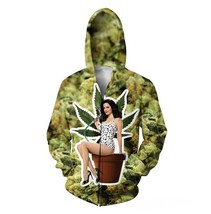 Nancy Botwin Weeds Zip-Up Hoodie Weed Leaf 3D Print Sweatshirts Women Me... - $57.12