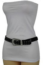 New Women Silver Bling Star Charms Western Fashion Black Faux Leather Belt Hip M - $19.59