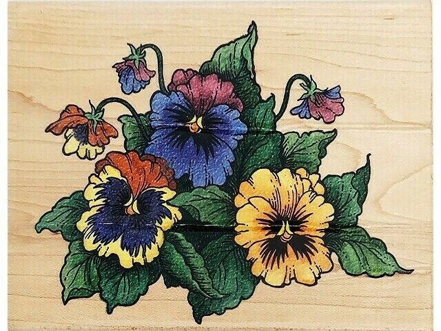 Stampendous Pansy Patch Wood Mounted Rubber Stamp #R032
