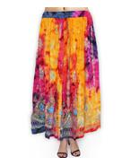 TIE DYE Yellow Long skirt Hand Beads Free Size New - $27.12