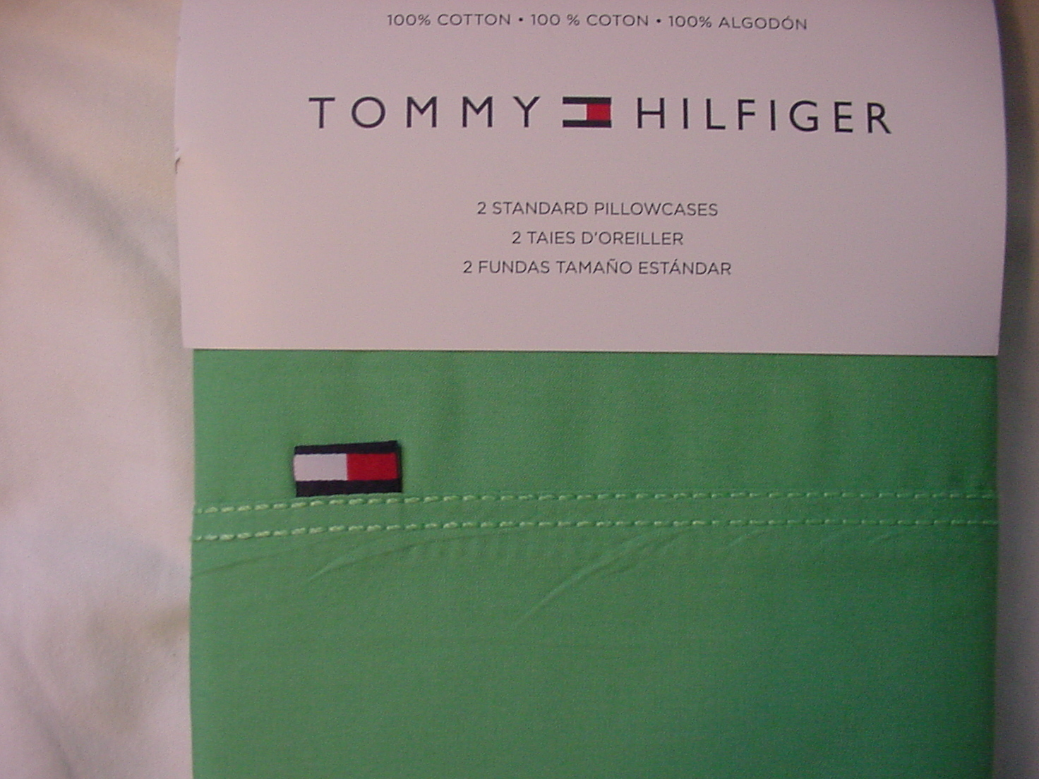 Tommy Hilfiger Signature Greenbriar Lime Green Cotton Pillowcases Standard