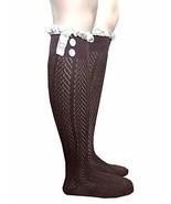 Ginga's Galleria Dark Brown Button Lace Knee High Boot Socks - $8.95